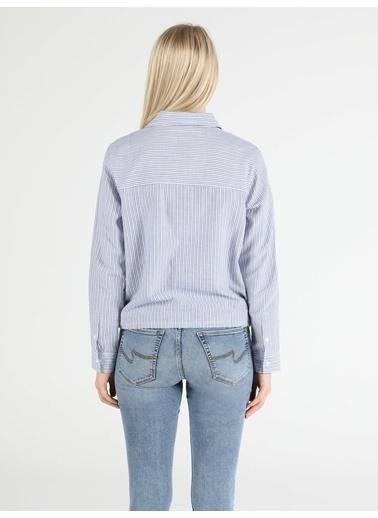 Colin's Regular Fit Standart Kol V Yaka Kadın Gömlek Uzun Kol Mavi